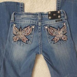 Miss Me Girls Jeans Butterfly Bling Pocket Sz 14